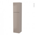 Colonne de salle de bains - 2 portes - KERIA Moka - Côtés décors - Version A - L40 x H182 x P40 cm