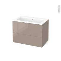 Meuble de salle de bains - Plan vasque NAJA - KERIA Moka - 2 tiroirs - Côtés décors - L80,5 x H58,5 x P50,5 cm