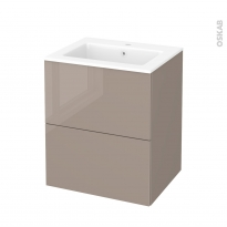 Meuble de salle de bains - Plan vasque NAJA - KERIA Moka - 2 tiroirs - Côtés décors - L60,5 x H71,5 x P50,5 cm