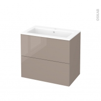 Meuble de salle de bains - Plan vasque NAJA - KERIA Moka - 2 tiroirs - Côtés décors - L80,5 x H71,5 x P50,5 cm