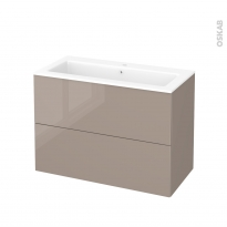 Meuble de salle de bains - Plan vasque NAJA - KERIA Moka - 2 tiroirs - Côtés décors - L100,5 x H71,5 x P50,5 cm