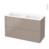Meuble de salle de bains - Plan double vasque NAJA - KERIA Moka - 4 tiroirs - Côtés décors - L120,5 x H71,5 x P50,5 cm