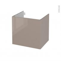 Meuble de salle de bains - Sous vasque - KERIA Moka - 1 porte - Côtés décors - L60 x H57 x P50 cm
