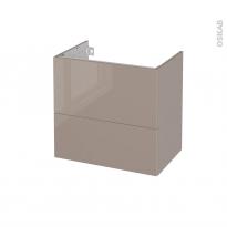 Meuble de salle de bains - Sous vasque - KERIA Moka - 2 tiroirs - Côtés décors - L60 x H57 x P40 cm