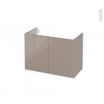 Meuble de salle de bains - Sous vasque - KERIA Moka - 2 portes - Côtés décors - L80 x H57 x P40 cm