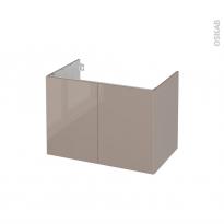 Meuble de salle de bains - Sous vasque - KERIA Moka - 2 portes - Côtés décors - L80 x H57 x P50 cm