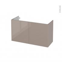 Meuble de salle de bains - Sous vasque - KERIA Moka - 2 portes - Côtés décors - L100 x H57 x P40 cm