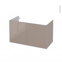 Meuble de salle de bains - Sous vasque - KERIA Moka - 2 portes - Côtés décors - L100 x H57 x P50 cm