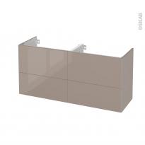Meuble de salle de bains - Sous vasque double - KERIA Moka - 4 tiroirs - Côtés décors - L120 x H57 x P40 cm