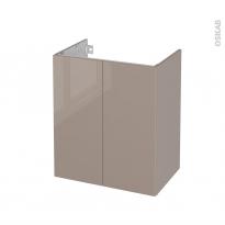 Meuble de salle de bains - Sous vasque - KERIA Moka - 2 portes - Côtés décors - L60 x H70 x P40 cm