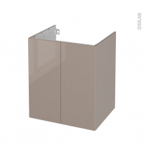 Meuble de salle de bains - Sous vasque - KERIA Moka - 2 portes - Côtés décors - L60 x H70 x P50 cm