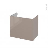 Meuble de salle de bains - Sous vasque - KERIA Moka - 2 portes - Côtés décors - L80 x H70 x P50 cm