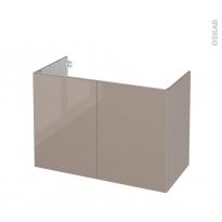 Meuble de salle de bains - Sous vasque - KERIA Moka - 2 portes - Côtés décors - L100 x H70 x P50 cm