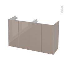 Meuble de salle de bains - Sous vasque double - KERIA Moka - 4 portes - Côtés décors - L120 x H70 x P40 cm