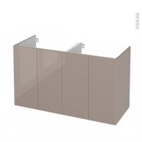Meuble de salle de bains - Sous vasque double - KERIA Moka - 4 portes - Côtés décors - L120 x H70 x P50 cm