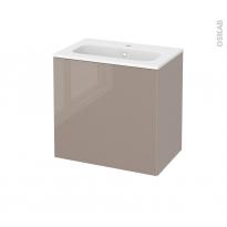 Meuble de salle de bains - Plan vasque REZO - KERIA Moka - 1 porte - Côtés décors - L60,5 x H58,5 x P40,5 cm