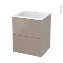 Meuble de salle de bains - Plan vasque REZO - KERIA Moka - 2 tiroirs - Côtés décors - L60,5 x H71,5 x P50,5 cm
