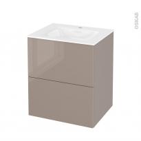 Meuble de salle de bains - Plan vasque VALA - KERIA Moka - 2 tiroirs - Côtés décors - L60,5 x H71,2 x P50,5 cm