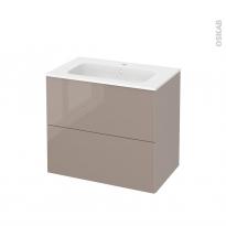 Meuble de salle de bains - Plan vasque REZO - KERIA Moka - 2 tiroirs - Côtés décors - L80,5 x H71,5 x P50,5 cm
