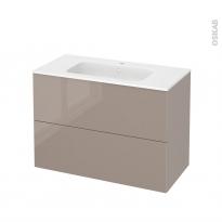 Meuble de salle de bains - Plan vasque REZO - KERIA Moka - 2 tiroirs - Côtés décors - L100,5 x H71,5 x P50,5 cm