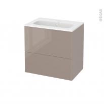 Meuble de salle de bains - Plan vasque REZO - KERIA Moka - 2 tiroirs - Côtés décors - L60,5 x H58,5 x P40,5 cm