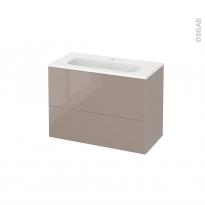 Meuble de salle de bains - Plan vasque REZO - KERIA Moka - 2 tiroirs - Côtés décors - L80,5 x H58,5 x P40,5 cm