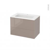 Meuble de salle de bains - Plan vasque REZO - KERIA Moka - 2 tiroirs - Côtés décors - L80,5 x H58,5 x P50,5 cm