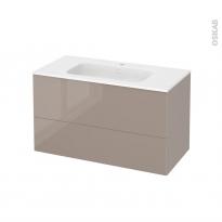 Meuble de salle de bains - Plan vasque REZO - KERIA Moka - 2 tiroirs - Côtés décors - L100,5 x H58,5 x P50,5 cm