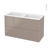 Meuble de salle de bains - Plan double vasque REZO - KERIA Moka - 4 tiroirs - Côtés décors - L120,5 x H71,5 x P50,5 cm
