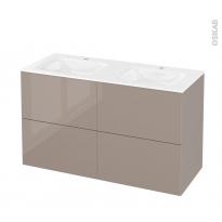 Meuble de salle de bains - Plan double vasque VALA - KERIA Moka - 4 tiroirs - Côtés décors - L120,5 x H71,2 x P50,5 cm