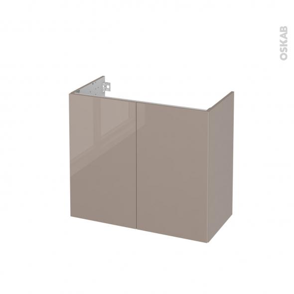 Meuble de salle de bains - Sous vasque - KERIA Moka - 2 portes - Côtés décors - L80 x H70 x P40 cm
