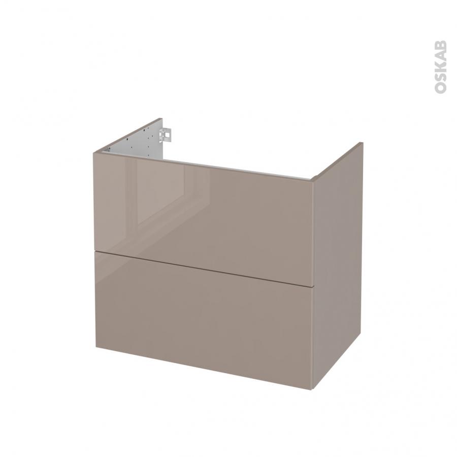 Meuble de salle de bains sous vasque keria moka 2 tiroirs - Meuble bas salle de bain sans vasque ...