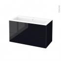 Meuble de salle de bains - Plan vasque NAJA - KERIA Noir - 2 tiroirs - Côtés décors - L100,5 x H58,5 x P50,5 cm