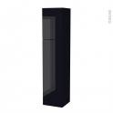 Colonne de salle de bains - 2 portes - KERIA Noir - Côtés décors - Version A - L40 x H182 x P40 cm