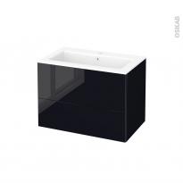 Meuble de salle de bains - Plan vasque NAJA - KERIA Noir - 2 tiroirs - Côtés décors - L80,5 x H58,5 x P50,5 cm