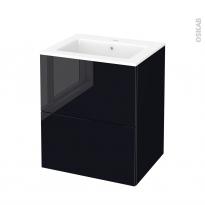 Meuble de salle de bains - Plan vasque NAJA - KERIA Noir - 2 tiroirs - Côtés décors - L60,5 x H71,5 x P50,5 cm