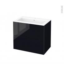 Meuble de salle de bains - Plan vasque NAJA - KERIA Noir - 2 tiroirs - Côtés décors - L80,5 x H71,5 x P50,5 cm