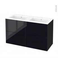 Meuble de salle de bains - Plan double vasque NAJA - KERIA Noir - 4 tiroirs - Côtés décors - L120,5 x H71,5 x P50,5 cm