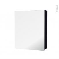 Armoire de toilette - Rangement haut - KERIA Noir - 1 porte miroir - Côtés décors - L60 x H70 x P17 cm