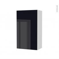 Armoire de salle de bains - Rangement haut - KERIA Noir - 1 porte - Côtés blancs - L40 x H70 x P27 cm