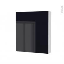Armoire de toilette - Rangement haut - KERIA Noir - 1 porte - Côtés blancs - L60 x H70 x P17 cm