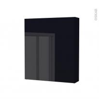 Armoire de toilette - Rangement haut - KERIA Noir - 1 porte - Côtés décors - L60 x H70 x P17 cm