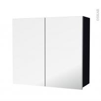Armoire de salle de bains - Rangement haut - KERIA Noir - 2 portes miroir - Côtés décors - L80 x H70 x P27 cm