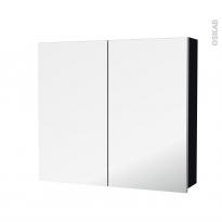 Armoire de toilette - Rangement haut - KERIA Noir - 2 portes miroir - Côtés décors - L80 x H70 x P17 cm