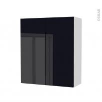 Armoire de salle de bains - Rangement haut - KERIA Noir - 2 portes - Côtés blancs - L60 x H70 x P27 cm