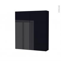 Armoire de toilette - Rangement haut - KERIA Noir - 2 portes - Côtés décors - L60 x H70 x P17 cm