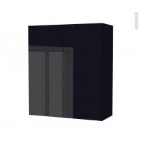 Armoire de salle de bains - Rangement haut - KERIA Noir - 2 portes - Côtés décors - L60 x H70 x P27 cm