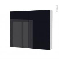 Armoire de toilette - Rangement haut - KERIA Noir - 2 portes - Côtés blancs - L80 x H70 x P17 cm