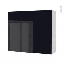Armoire de salle de bains - Rangement haut - KERIA Noir - 2 portes - Côtés blancs - L80 x H70 x P27 cm