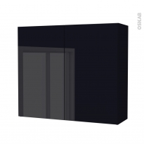 Armoire de salle de bains - Rangement haut - KERIA Noir - 2 portes - Côtés décors - L80 x H70 x P27 cm